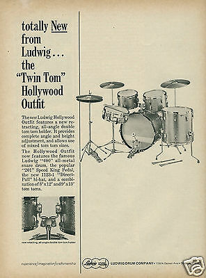 """1965 Totally New! LUDWIG """"Twin Tom"""" Hollywood Outfit Original Vintage Ad"""
