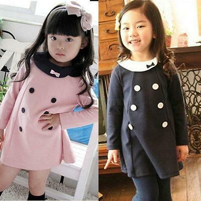 Children Girls Kids Dress Top Skirt Long Sleeve 2-7 Y Baby Party 1-Piece Clothes