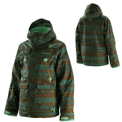 New Mens Special Blend Trigger Snowboard Jacket Large Early Lineup Green Peace