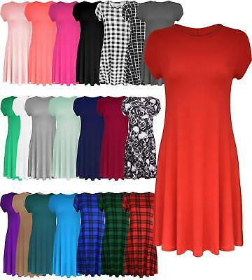Womens Ladies Short Cap Sleeve Midi A-line Skater Swing Dress Flared Tea Plain