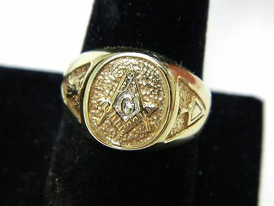 Masonic 14kt Solid Yellow Gold Ring, Great Condition! Size 10 1/2!