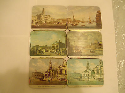6 Vintage James Malton Irish Historic Coasters of Dublin Ireland Red Coats Marin