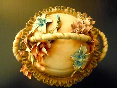 Capodimonte Hand Painted Flowered Basket Lidded Dish, Italy, w/ Authenticity tag