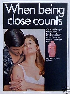"""1968 Vintage PRINT AD: Cashmere Bouquet Body Powder """"When Being Close Counts"""""""