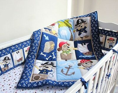 New High Quality Baby  Boy Crib/Cot Embroidered Blanket Quilt Comforter Pirate