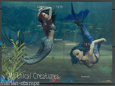 Liberia 2014 Mythical Creatures Mermaid Souvenir Sheet Mint Nh