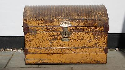Large Victorian metal dome top  travel trunk/chest, dated 1884, orig labels.