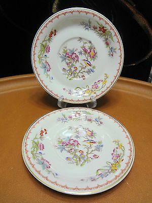 "2 Vintage Syracuse China Bombay Pattern 6 1/2"" Saucers for Soup Fruit Bowls"
