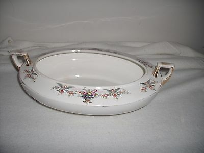Homer Laughlin A7N Victorian Bird Floral Rosewood Pattern Two Handled Soup Bowl
