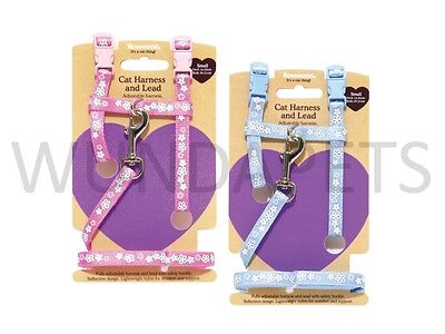 Rosewood Cat Kitten Nylon Walking Harness & Lead Set Small Pink Or Blue 08064