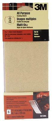New 3M 9215 Pack (6) Sheets 1/3 All Purpose Clip On 150 Grit Sandpaper 0868562