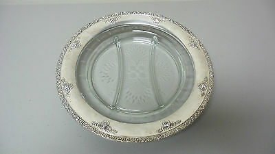 Beautiful Vintage Watson Sterling Silver & Etched Glass Divided Tray / Platter