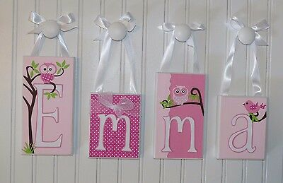 Whimsical Pink Owl Name Letter Blocks - Routed Edge, Hanging Wall Baby Decor