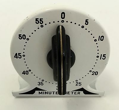Vintage ROBERT SHAW Black & White Kitchen Timer ~MINUTE METER~Works Great! (#86)