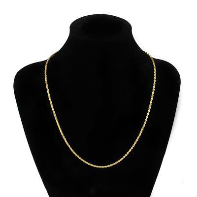 Men & Women's 3mm 24K Gold Plated Stainless Steel Twist Chain Necklace 50cm