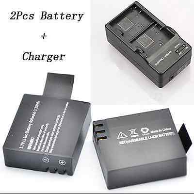 2Pcs 3.7V 900mAh Original Replacemt Battery With Dual Charger For SJ4000 Camera