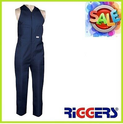 3 x RIGGERS Heavyweight Cotton Drill Action Back Sleeveless Overalls Navy