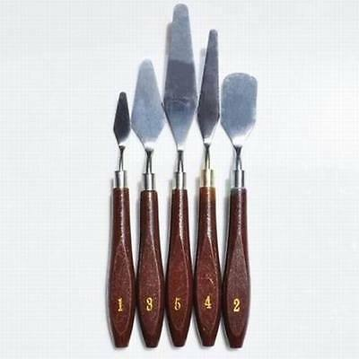 5pc Professional Stainless Steel Artist Painting Palette Knife Spatula Paint Art