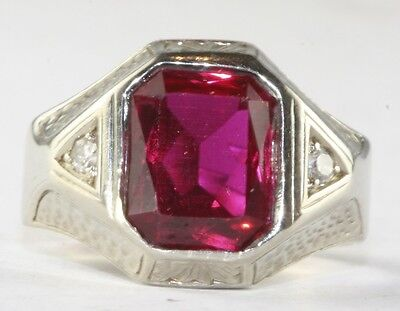 1930'S Art Deco Mens Hand Wrought Hammered 14K Gold Diamond Red Pinky Ring Sz 6