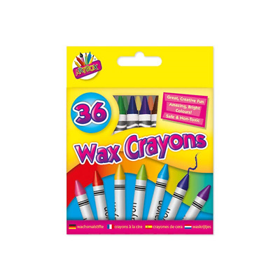 48 Wax Crayons Set with Free Sharpener Assorted Colours Arts for Kids - 5082