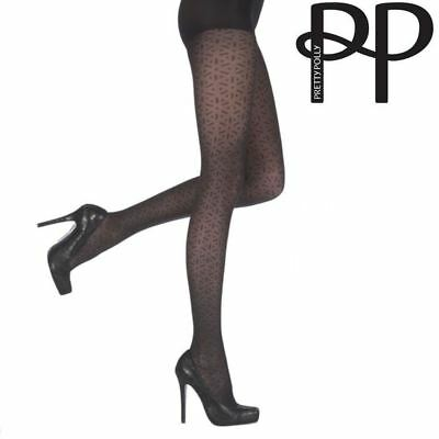 Pretty Polly Ladies Womens Black Abstract Hexagon Pattern Shaper Tights S,M.l