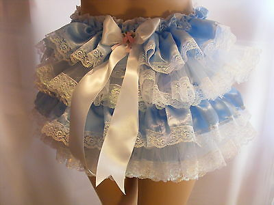 BLUE SATIN/LACE FRILLY SISSY ADULT BABY PANTIES,KNICKERS,DIAPER COVER ,ALL SIZES