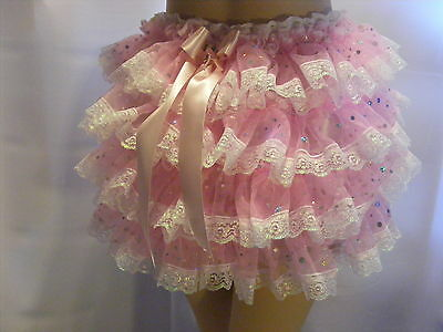 PINK ORGANZA FRONT+BACK EXTRA FRILLY RUFFLE SISSY ADULT BABY PANTIES,KNICKERS