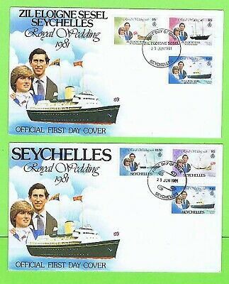 Seychelles 1981 Two Charles Diana Royal Wedding FDC Different Cancels