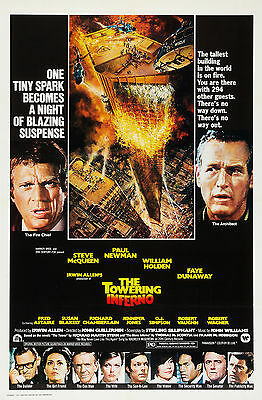 """TOWERING INFERNO""  Paul Newman Steve McQueen Classic Movie Poster A1A2A3A4Sizes"