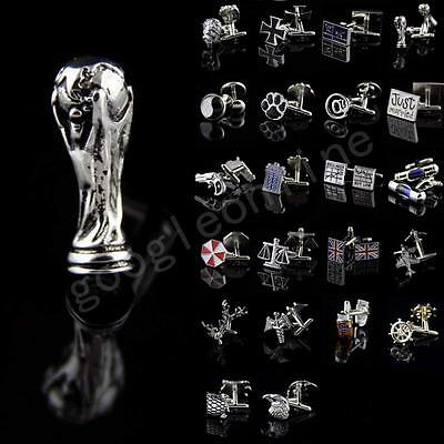 Lot Vintage Men Wedding Party Cufflinks Novelty Stainless Steel Shirt Cuff Links