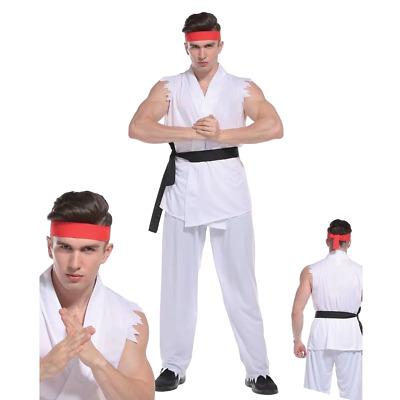 Deluxe Adult Mens Street Fighter Costume Cobra Karate Kid Ryu KungFu Fancy Dress