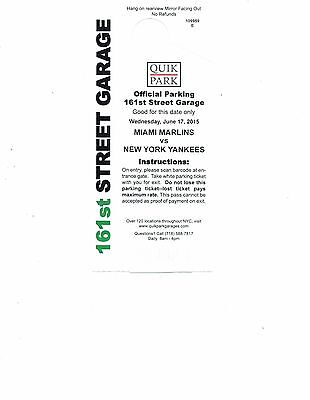 NY Yankee Official Parking Pass - 06/17/2015
