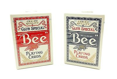 BEE Playing Cards #92R Poker Cards 2 Decks 1 Blue Deck, 1 Red Deck Brand New
