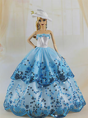 Fashion Royalty Party Dress Wedding Clothes Gown+hat For Barbie Doll F89U