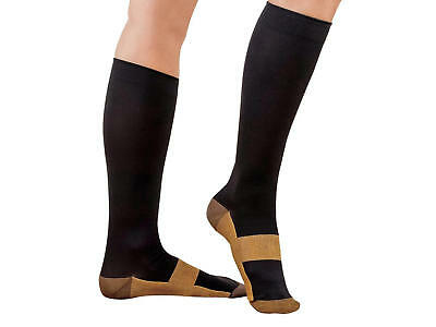 Graduated Compression Copper Sock Foot Support Stockings 20-30mmHg Black Lot