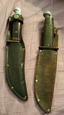 LOT OF 2 VINTAGE 1960'S WESTERN USA FIXED  BLADE KNIVES WITH SHEATHS