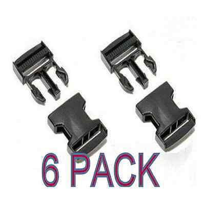 6 x BLACK 25 mm PLASTIC SIDE RELEASE BUCKLES QUICK RELEASE - FOR WEBBING