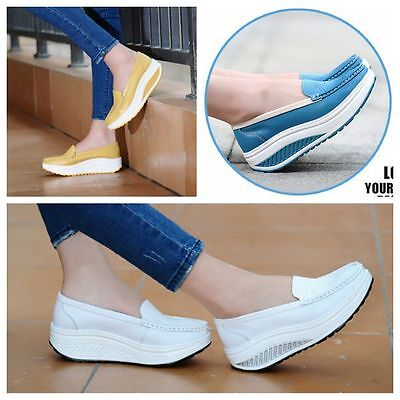 New Women's leather Casual Sport Shoes CHUNKY PLATFORM Walking Fitness Sneaker