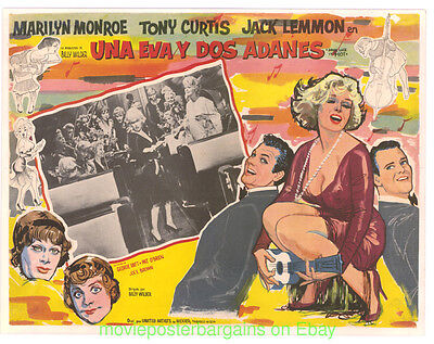 SOME LIKE IT HOT POSTER Mexican Lobby Card Size Movie Poster #3 MARILYN MONROE
