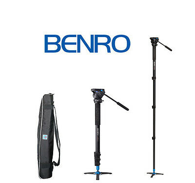 Benro A38FDS2 Video Monopod with Twist Lock Legs, S2 Head and 3 Leg Base (Black)
