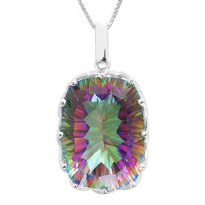 20ct  Fire Rainbow Topaz Pendent Necklace Chain Solid 925 Sterling Silver