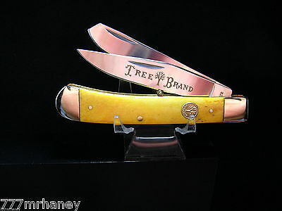 BOKER TREE BRAND KNIVES GERMANY GOLD BN TRAPPER KNIFE case NICKEL SILVER MINT