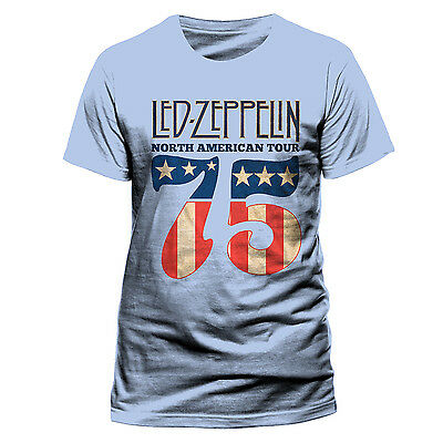 LED ZEPPELIN US 75 OFFICIAL COTTON T-SHIRT BLUE Robert PLANT Jimmy PAGE classic