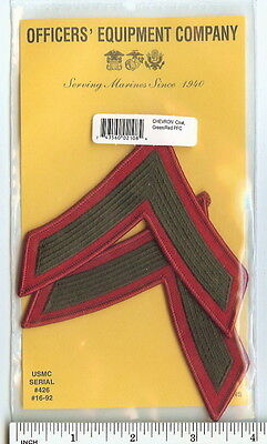 USMC Private First Class PFC Marines E2 Chevrons PATCH set! green/red for Greens