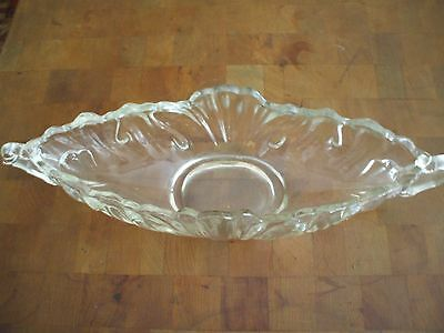 Vintage Clear Glass Oblong Shaped Decorative Bowl With Handle On The Ends
