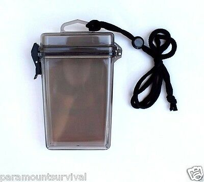 Large Waterproof Storage Container with Lanyard Smoke Camp Fits Most Smart Phone