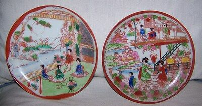 Old Japanese images on 2 small plates-decorative-see photos