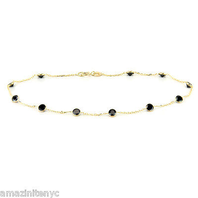 """14K Yellow Gold Ankle Bracelet With Round Shaped Black Cubic Zirconia 9"""""""