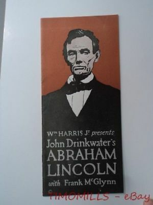 1921 John Drinkwater's ABRAHAM LINCOLN Play Brochure Washington DC Frank McGlynn