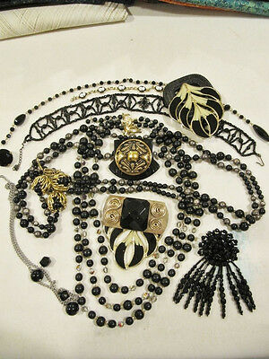 Lot 104 black beads brooches necklaces vintage for repurpose repair